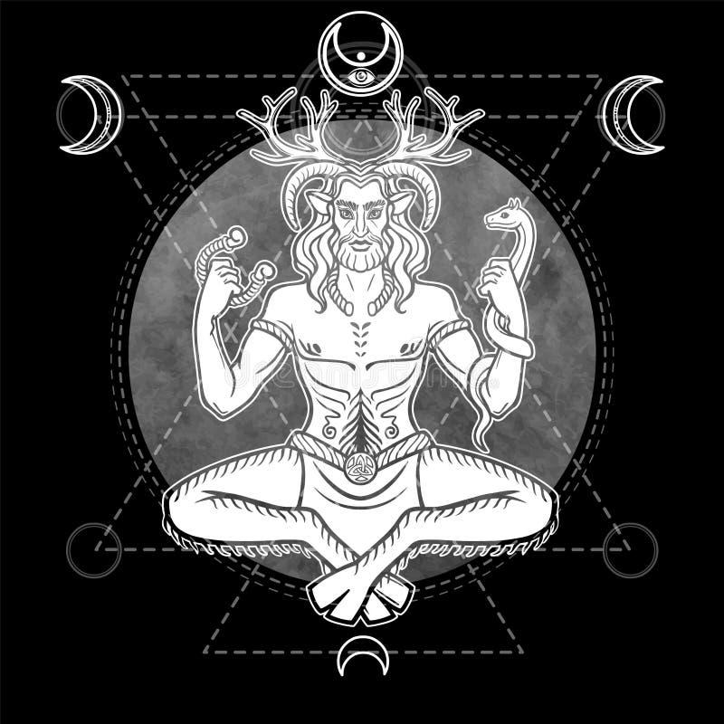 Stående av den forntida hedniska horned guden, manlig hjort, ande av trät stock illustrationer