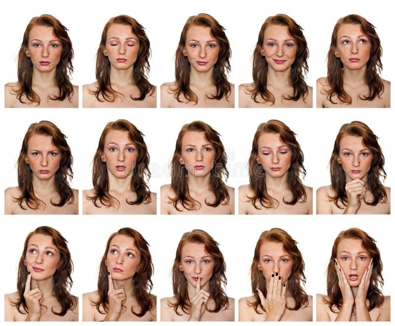 Stående av den fräkniga flickan med uttryck fotografering för bildbyråer