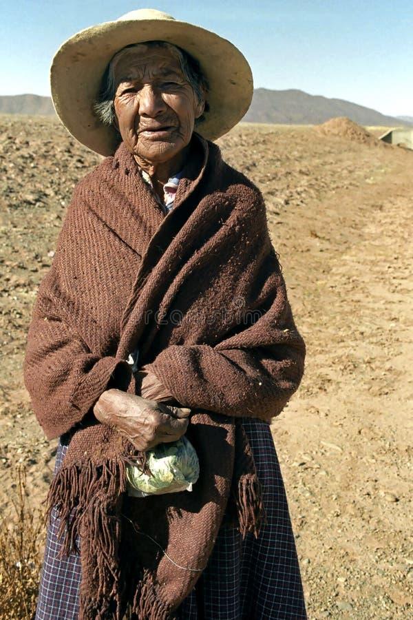 Stående av den gamla indiska kvinnan med cocasidor arkivbilder