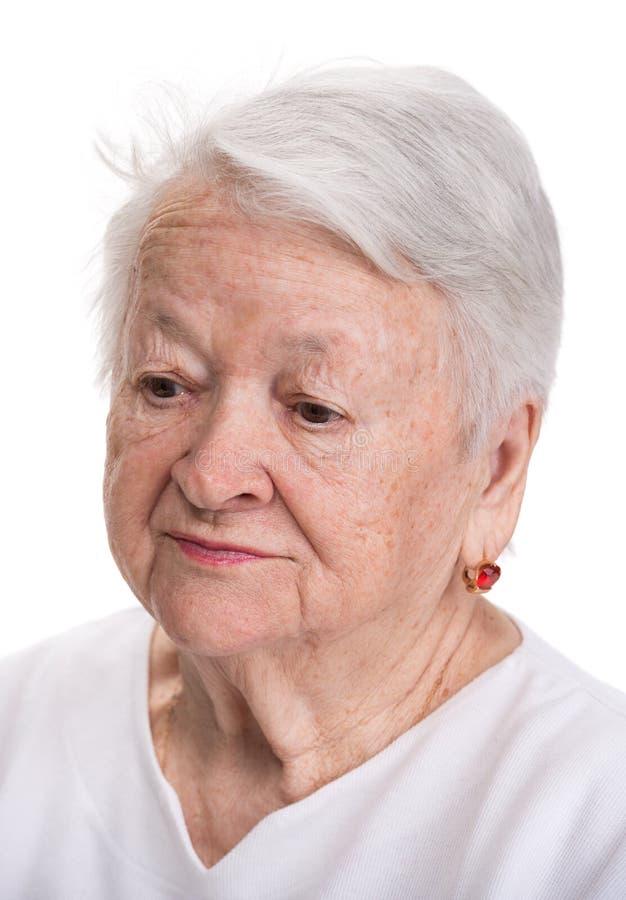 Stående av den gamla kvinnan arkivfoto