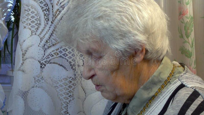 Stående av den gamla talande kvinnan arkivbild