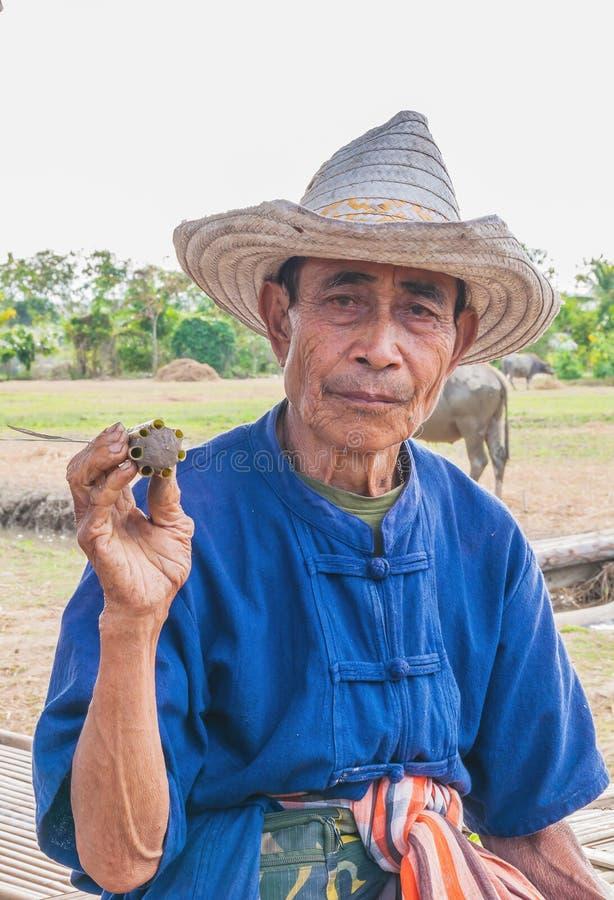 Stående av den gamla thailändska bonden royaltyfria bilder