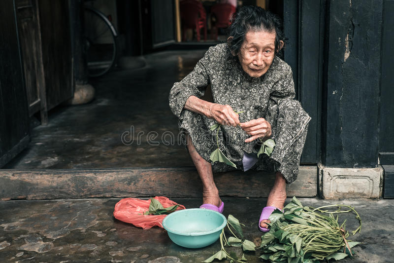 Stående av den gamla vietnamesiska kvinnan royaltyfri fotografi
