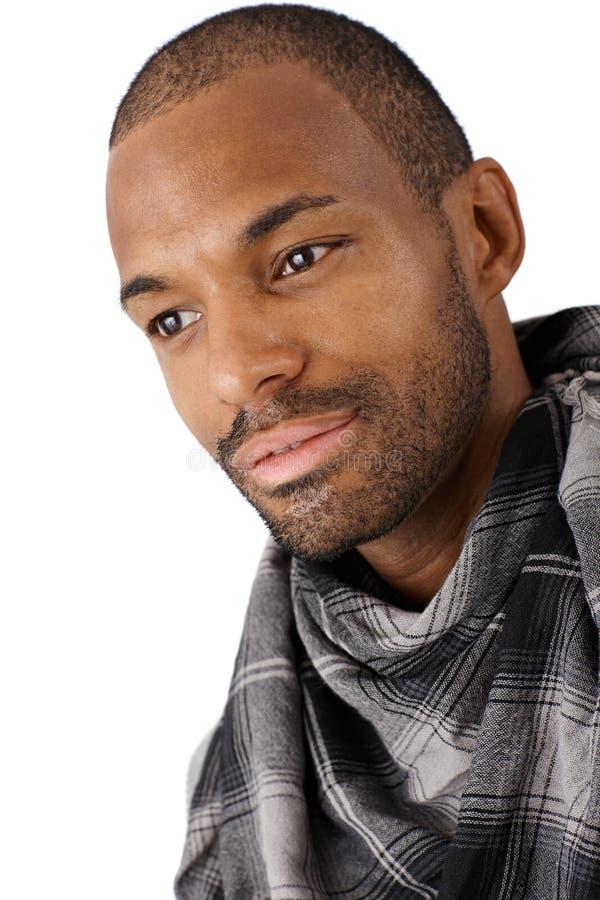 Stående av den goodlooking Afro-American mannen royaltyfri fotografi