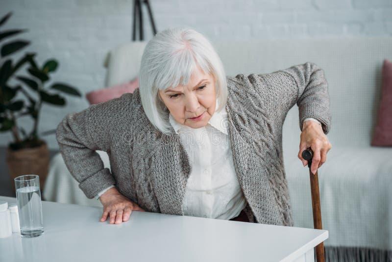 stående av den gråa hårkvinnan arkivfoto