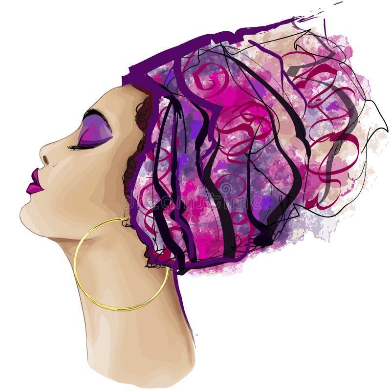 Stående av den gulliga afrikanska kvinnan med hattprofil vektor illustrationer