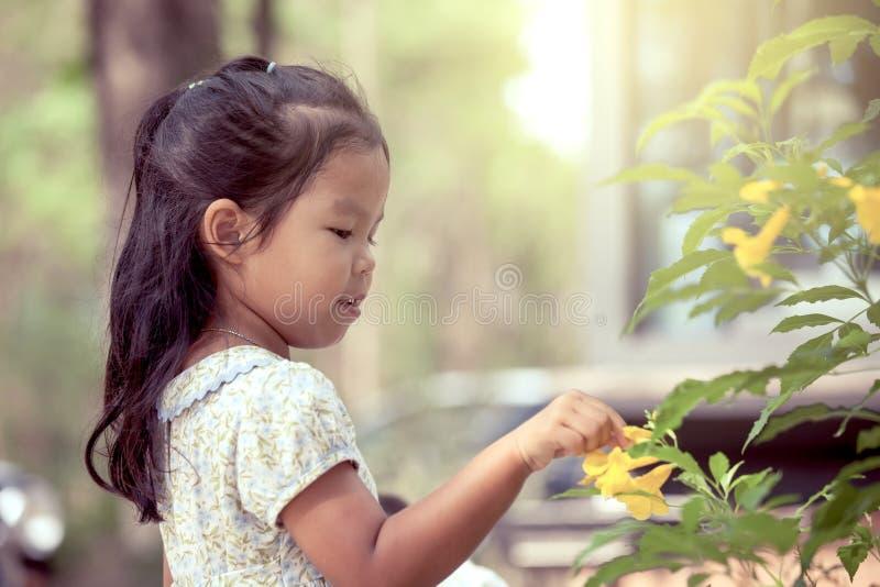 Stående av den gulliga asiatiska lilla flickan med den gula blomman arkivfoton