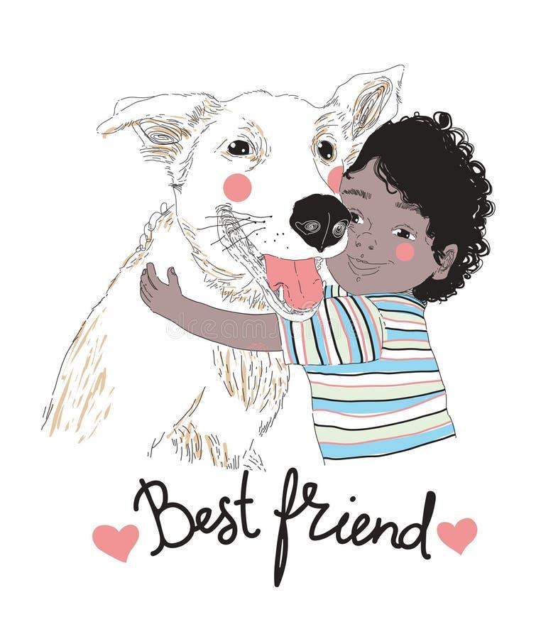 Stående av den gulliga lilla afrikansk amerikanpojken som kramar hunden, och att märka för bästa vän som är handskrivet med den k royaltyfri illustrationer