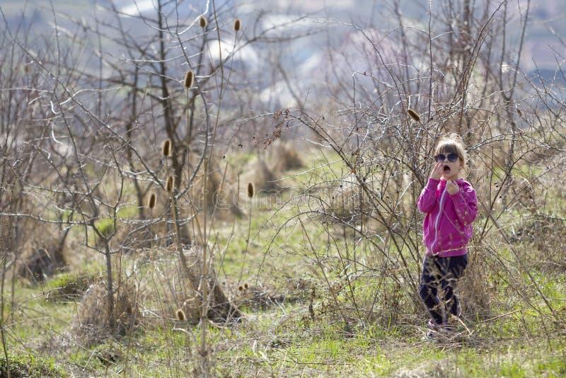 Stående av den gulliga lilla förvirrade blonda flickan i tillfällig rosa clothi fotografering för bildbyråer