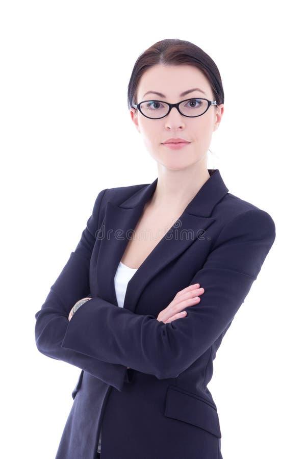 Stående av den härliga affärskvinnan i exponeringsglas som isoleras på whit royaltyfri foto