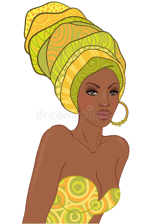 Stående av den härliga afrikanska kvinnan med örhänget stock illustrationer