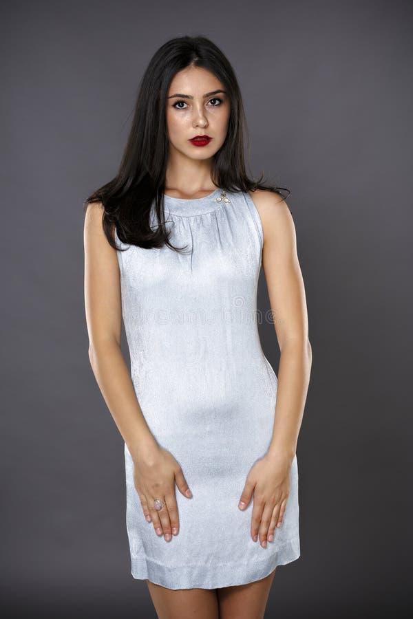 Stående av den härliga brunettkvinnan i en isolerad silverklänning royaltyfria foton