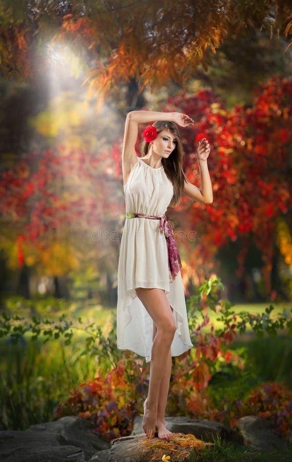 Stående av den härliga damen i skogen. Flicka med felik blick i höstlig fors. Flicka med höstlig smink- och hårstil royaltyfria bilder