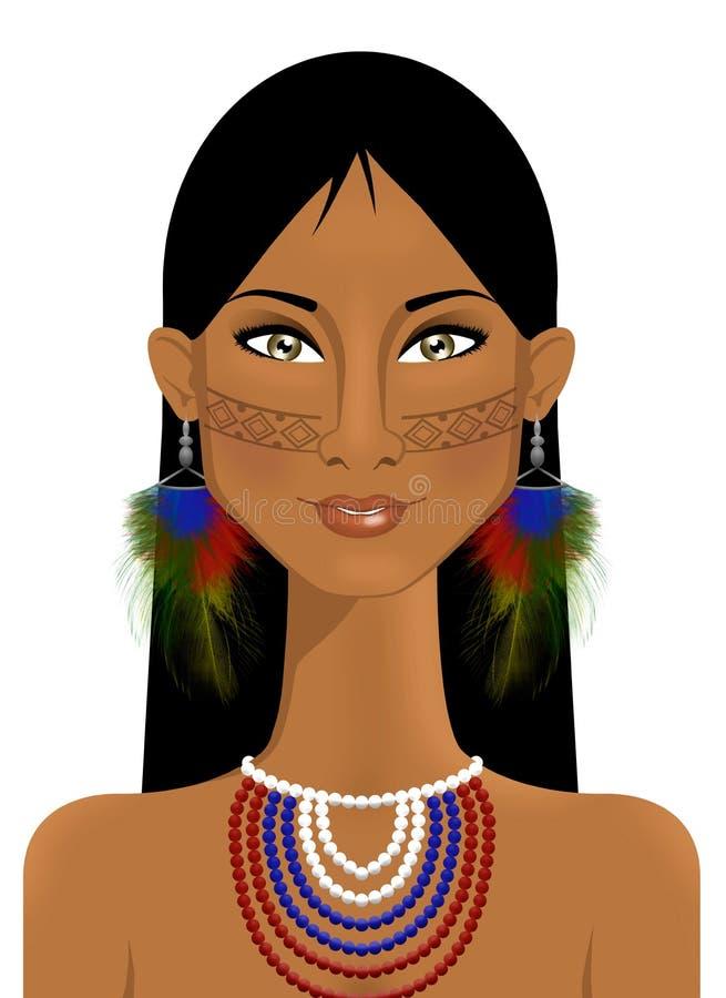 Stående av den härliga infödda kvinnan stock illustrationer