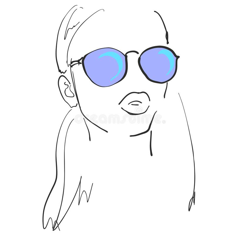 Stående av den härliga kvinnan i blå solglasögon hår long americanen dekorerar version för vektor för set symboler för design pat vektor illustrationer