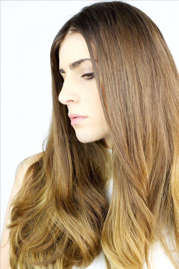 Stående av den härliga kvinnan med länge perfekt silkeslent hår royaltyfri fotografi