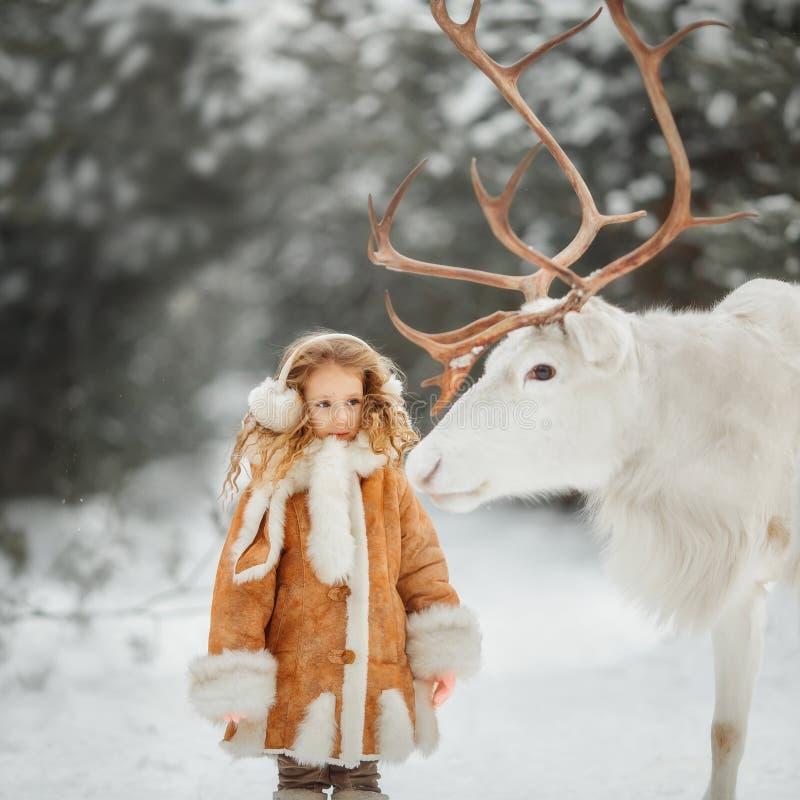 Stående av den härliga lilla flickan i pälslag på vinterskogen royaltyfri bild