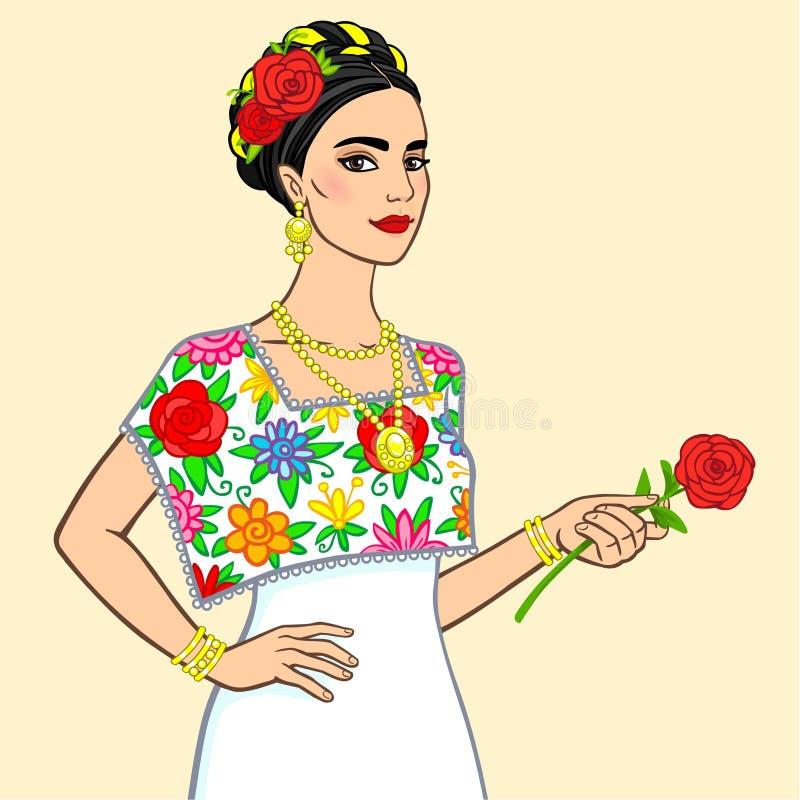Stående av den härliga mexicanska kvinnan i en festlig klänning med en ros i en hand royaltyfri illustrationer