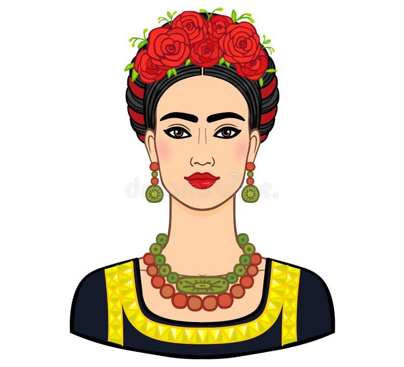 Stående av den härliga mexicanska kvinnan i forntida kläder Boho stil, person som tillhör en etnisk minoritet, tappning stock illustrationer