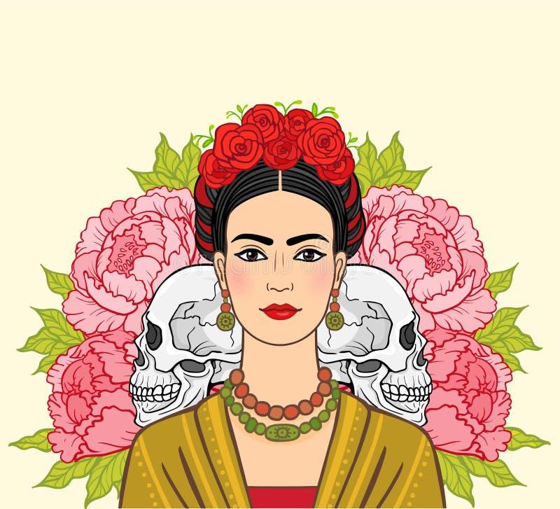 Stående av den härliga mexicanska kvinnan i forntida kläder, mänskliga skallar royaltyfri illustrationer