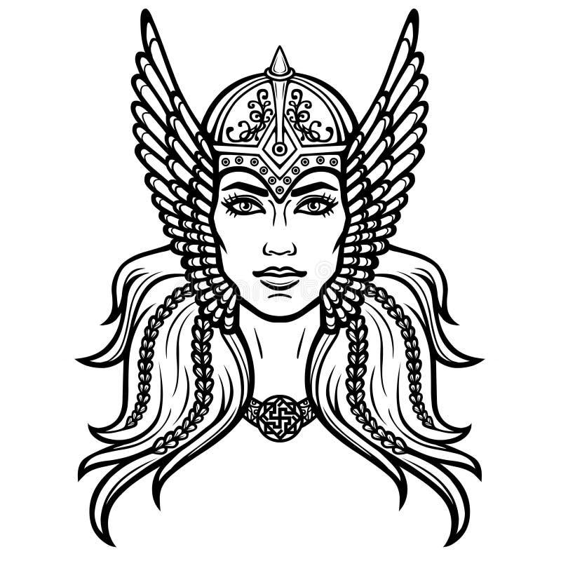 Stående av den härliga unga kvinnan Valkyrie Hednisk gudinna, mytiskt tecken vektor illustrationer