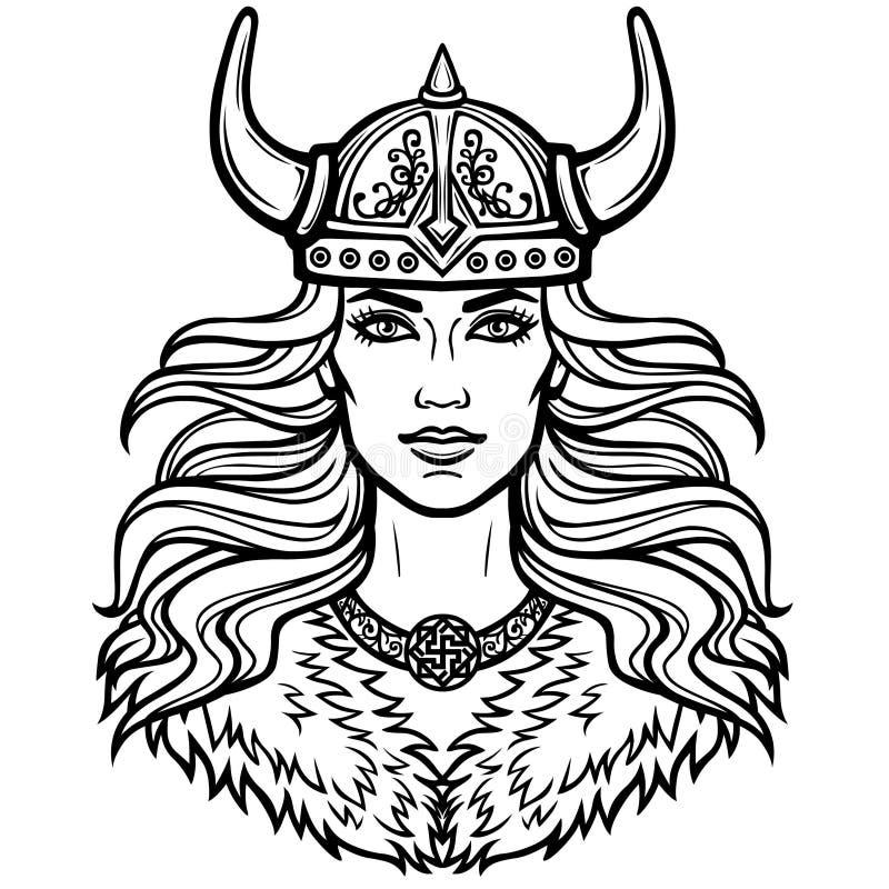 Stående av den härliga unga kvinnan Valkyrie i en horned hjälm Hednisk gudinna, mytiskt tecken stock illustrationer