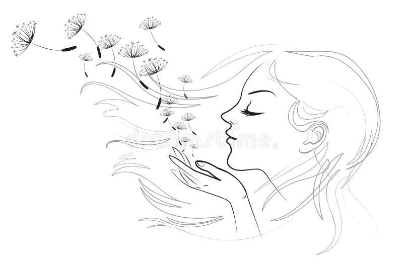 Stående av den härliga unga långhåriga kvinnan stock illustrationer