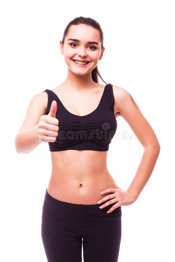 Stående av den härliga unga sportiga muskulösa kvinnan arkivfoton