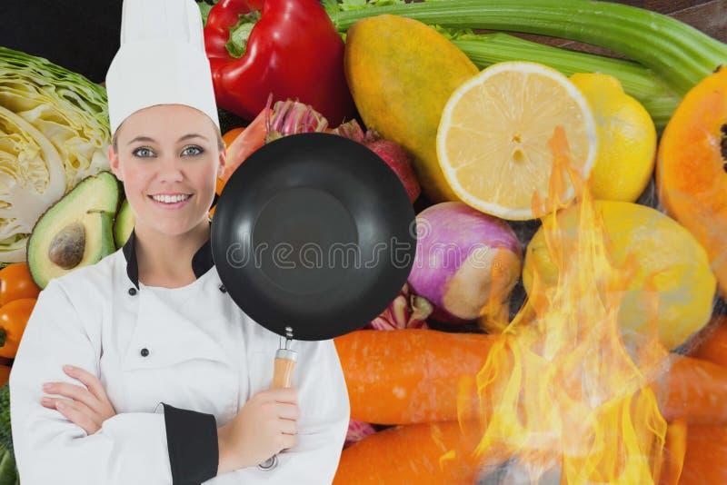 Stående av den hållande matlagningpannan för kock med grönsaker i bakgrund vektor illustrationer