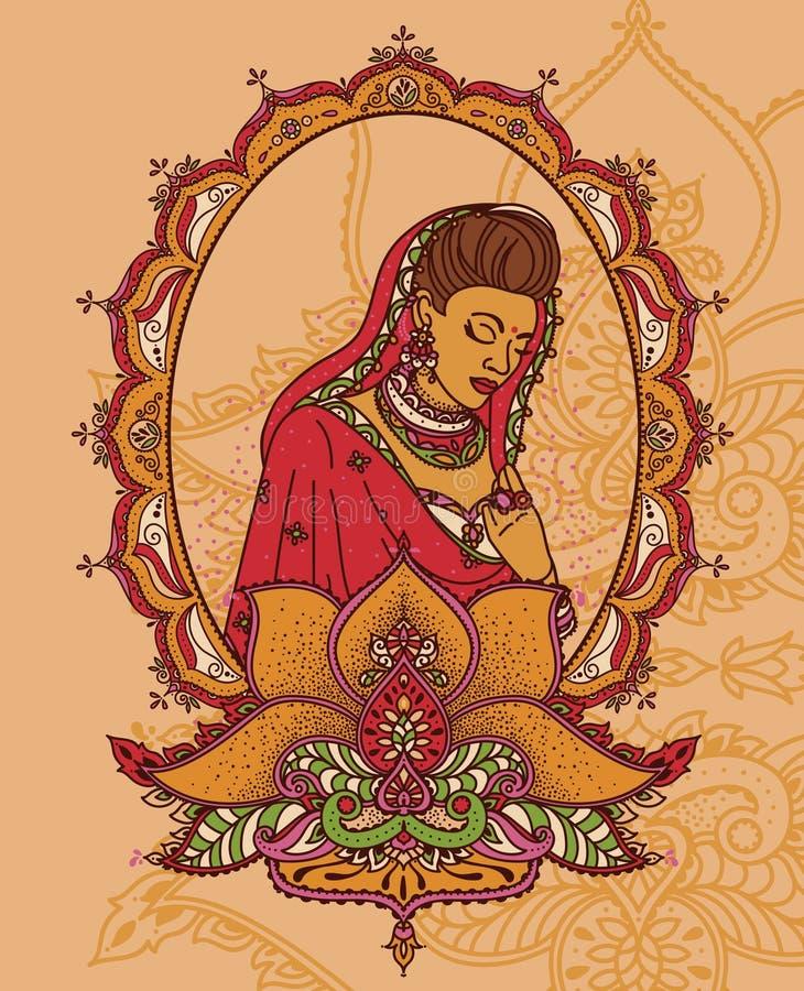 Stående av den indiska kvinnan i traditionell saree stock illustrationer