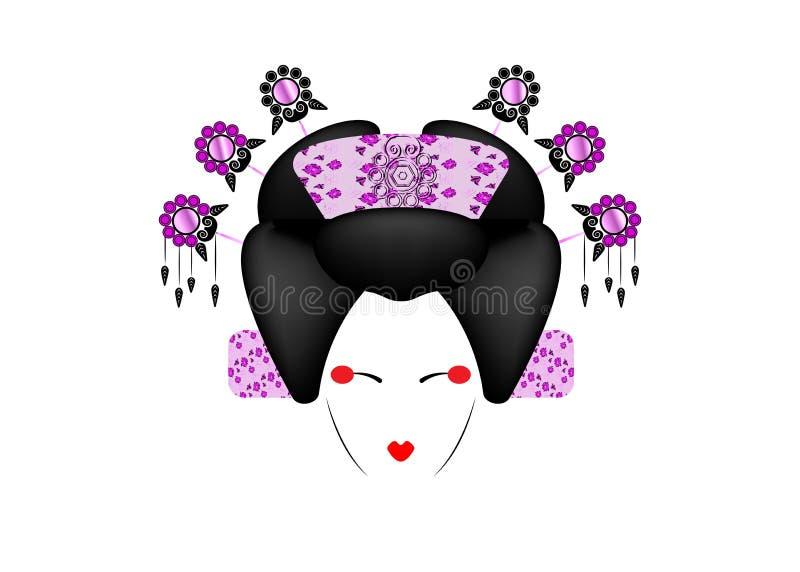 Stående av den japanska eller asiatiska flickan, traditionell stil med den japanska kimonot, madamafjärilsstil Traditionell geish royaltyfri illustrationer