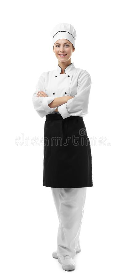 Stående av den kvinnliga kocken som isoleras på vit royaltyfria bilder