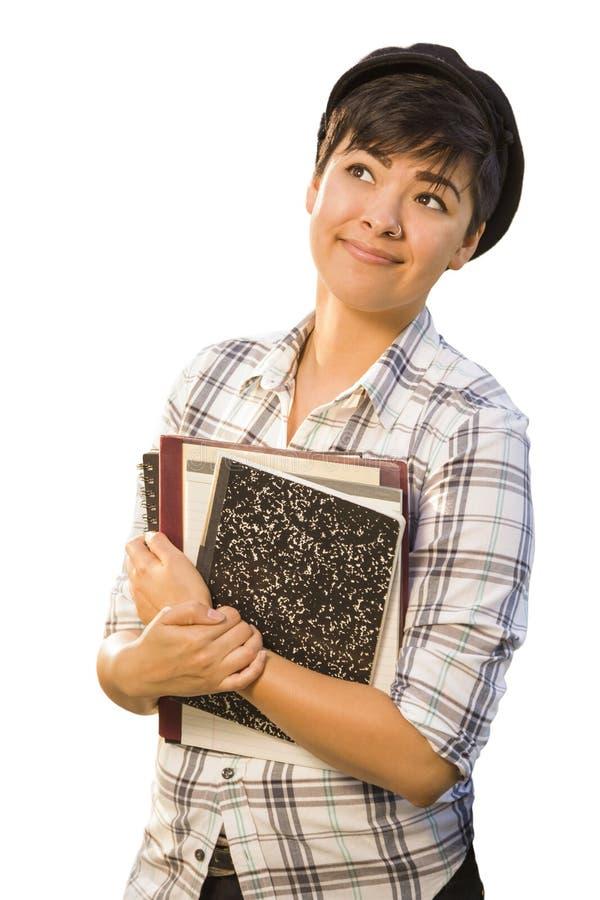 Stående av den kvinnliga studenten Holding Books Isolated för blandat lopp royaltyfri fotografi