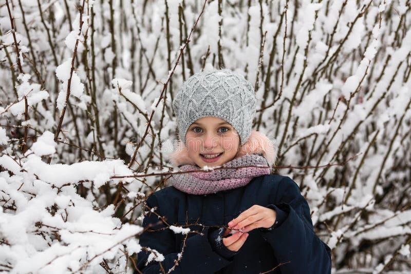 Stående av den lilla lyckliga flickan på den snöig Bush royaltyfri bild