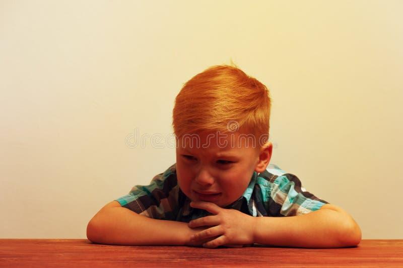 Stående av den lilla upprivna skriande pojken royaltyfri bild