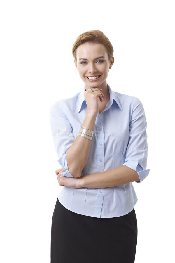 Stående av den lyckliga affärskvinnan royaltyfri fotografi