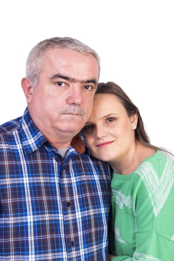 Stående av den lyckliga dottern och fadern royaltyfri bild