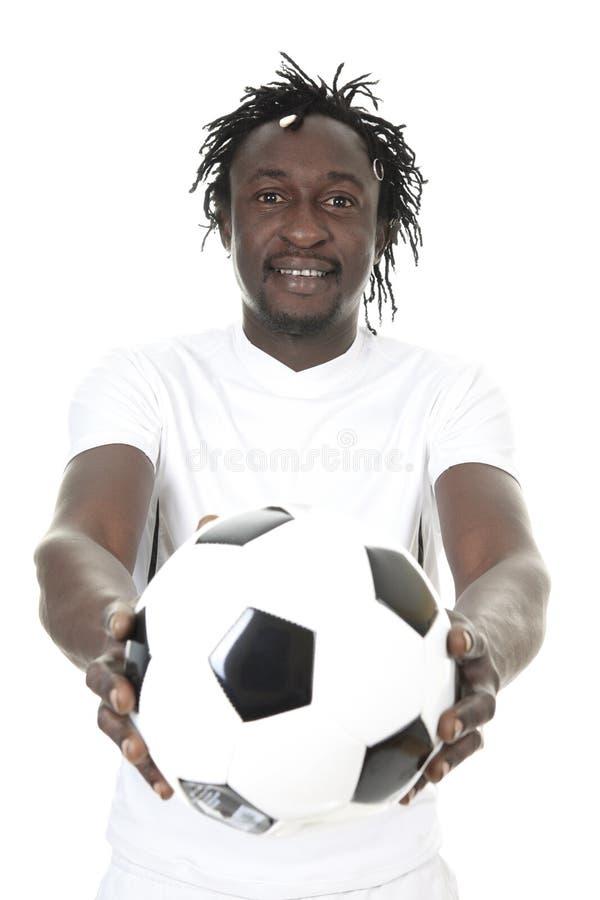 Stående av den lyckliga fotbollspelaren royaltyfri fotografi