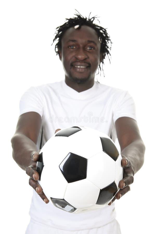 Stående av den lyckliga fotbollspelaren arkivbilder