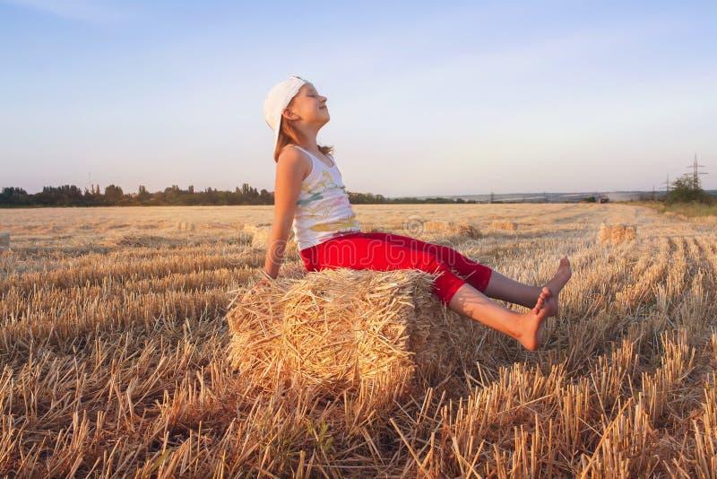 Stående av den lyckliga härliga unga kvinnan I veteåkern royaltyfri foto