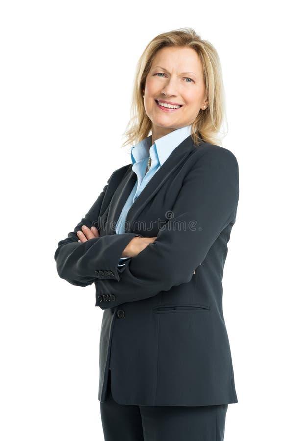Stående av den lyckliga höga affärskvinnan royaltyfria foton