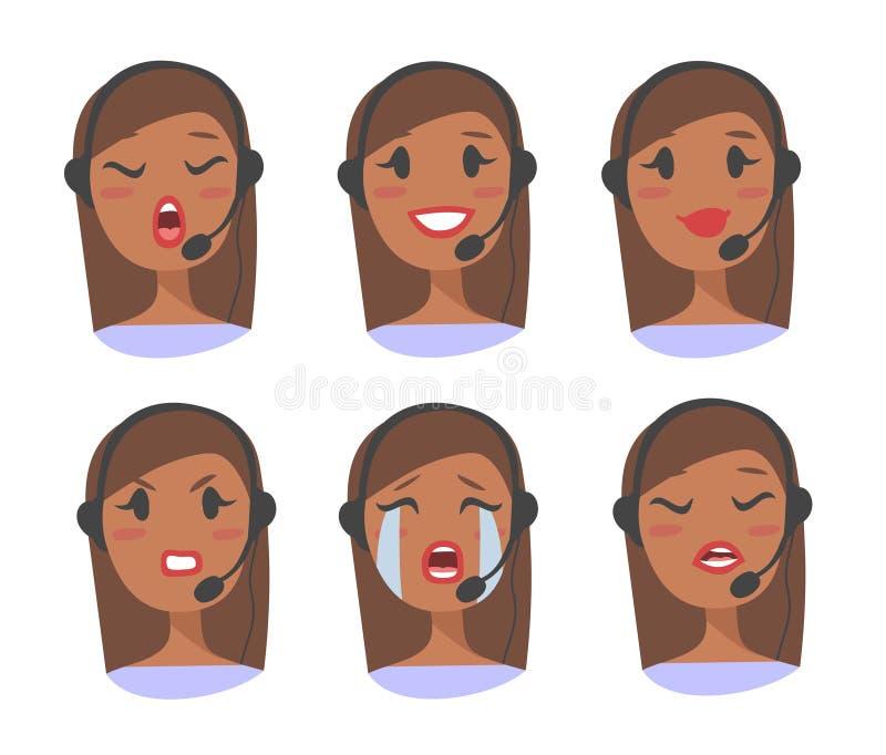 Stående av den lyckliga le kvinnliga operatören för telefon för kundservice Callcenter arbetare med hörlurar med mikrofon Tecknad stock illustrationer