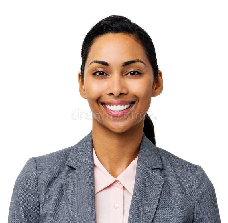 Stående av den lyckliga unga affärskvinnan arkivfoton