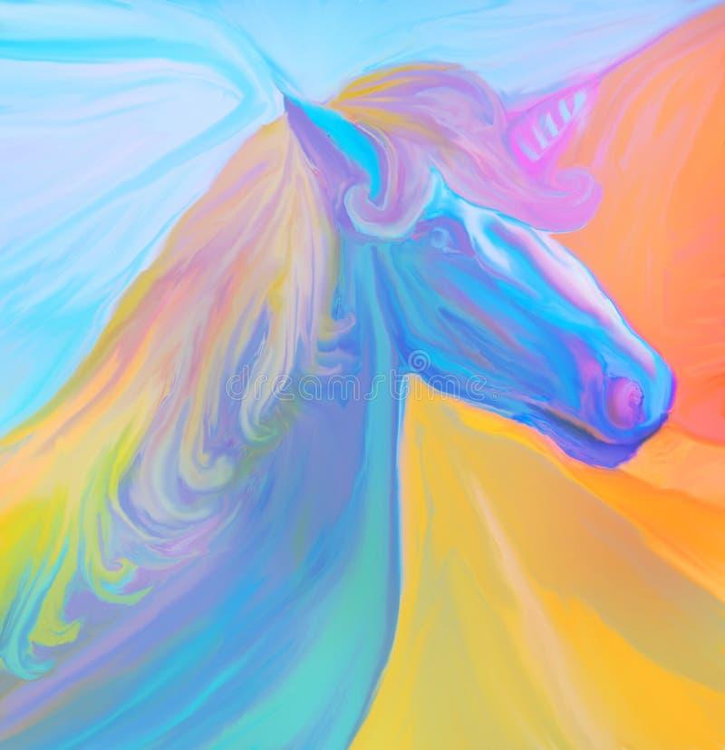 Stående av den magiska enhörningen vektor illustrationer