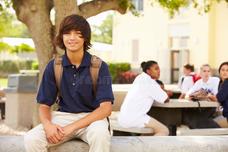 Stående av den manliga högstadiumstudenten Wearing Uniform arkivbild