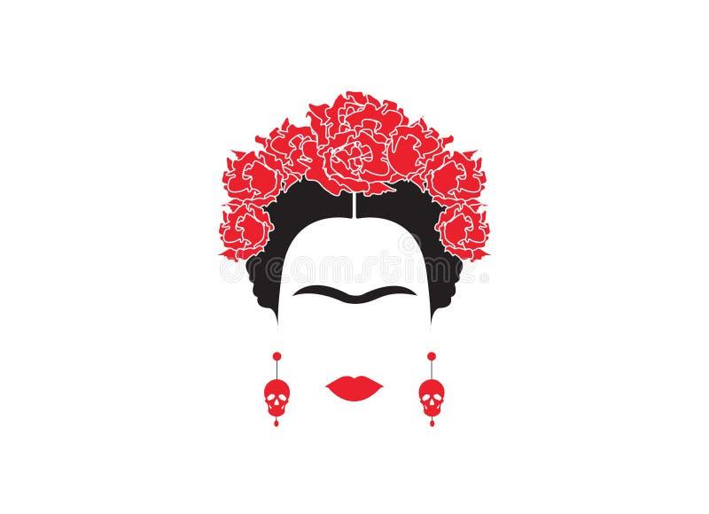 Stående av den mexicanska eller spanska kvinnaminimalisten Frida Kahlo med örhängeskallar och röda blommor som isoleras stock illustrationer
