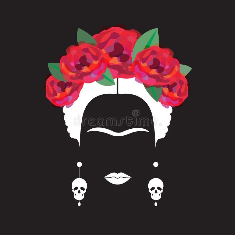 Stående av den mexicanska eller spanska kvinnaminimalisten Frida Kahlo med örhängeskallar och röda blommor, svart bakgrund stock illustrationer
