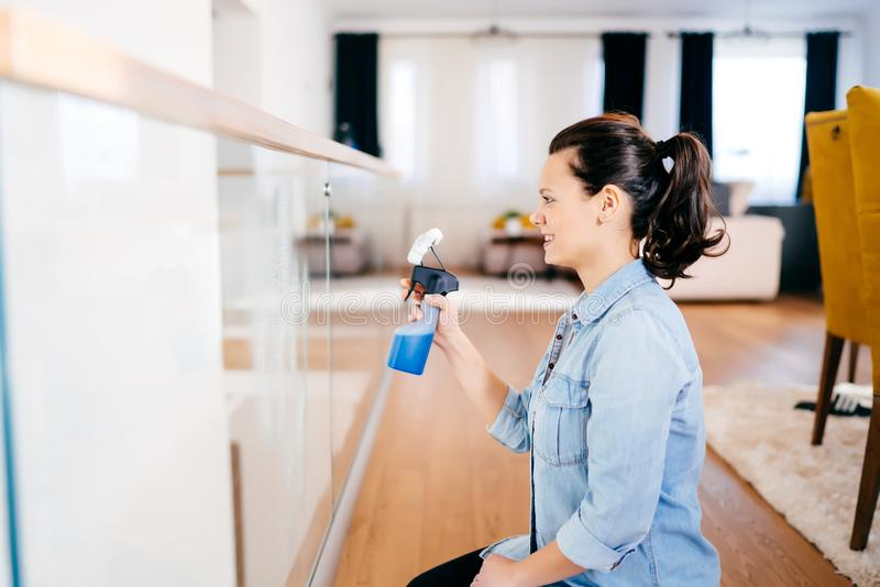 Stående av den moderna kvinnan som gör hushållsarbete runt om huset Rengörande exponeringsglas för kvinna med tvättmedel och tork royaltyfri bild