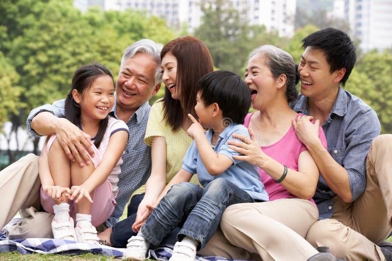 Stående av den Multi-Generation kinesiska familjen royaltyfria bilder