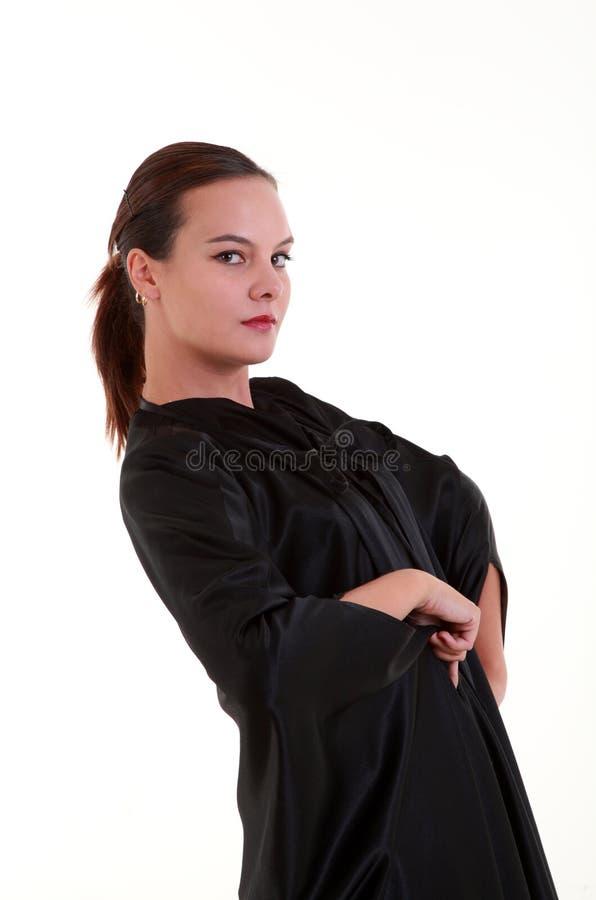 Stående av den nätt kvinnan för gåta arkivfoton